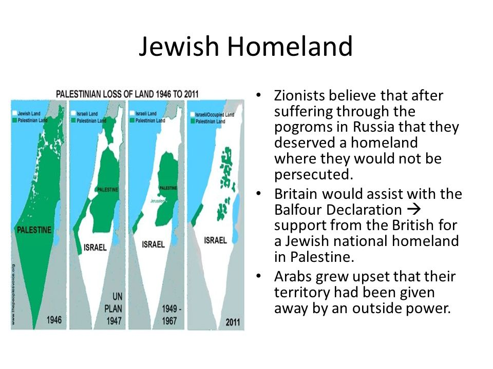 Jewish Homeland Zionists believe that after suffering through the pogroms in Russia that they deserved a homeland where they would not be persecuted.