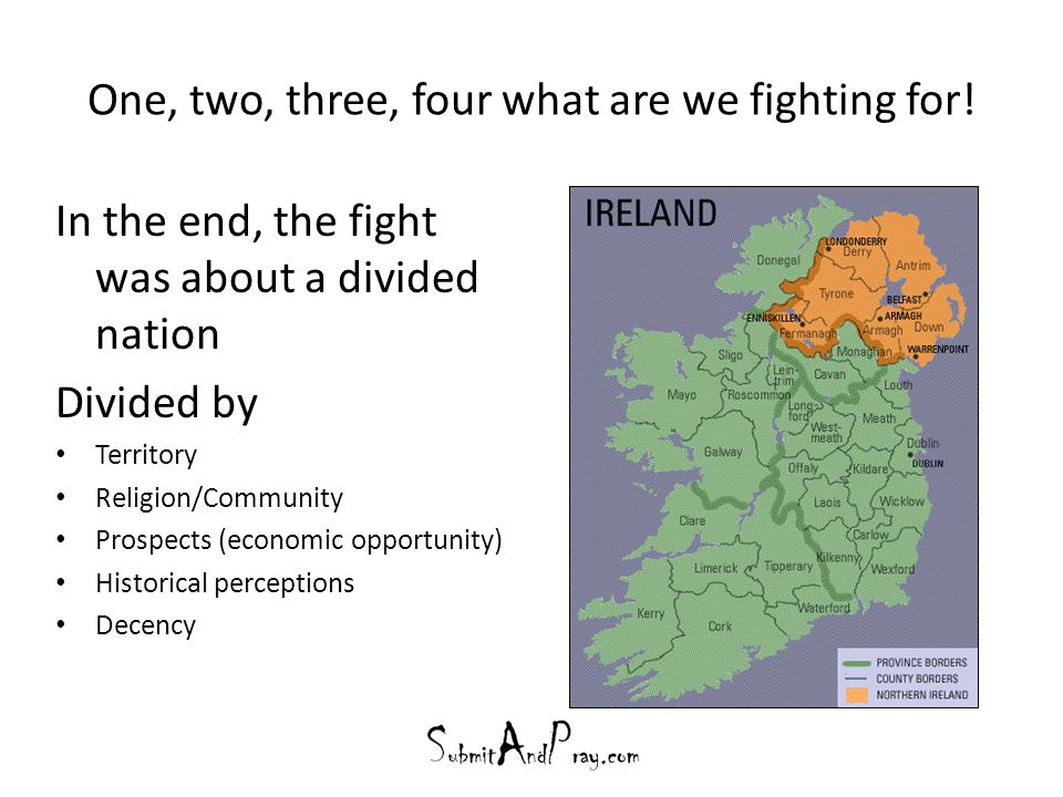 One, two, three, four what are we fighting for! In the end, the fight was about a divided nation Divided by Territory Religion/Community Prospects (ec