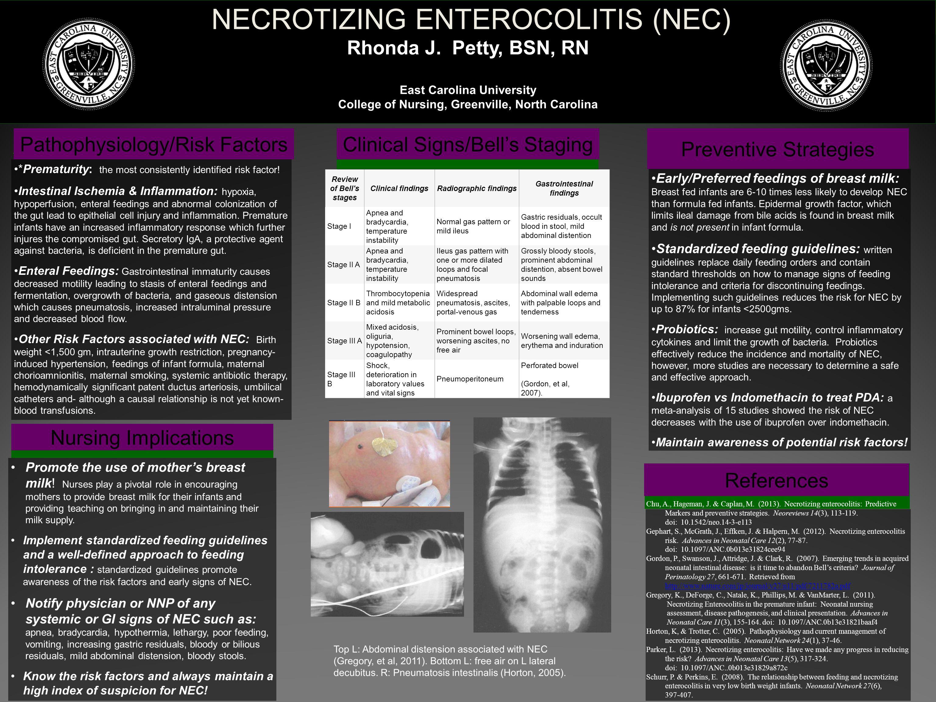 NECROTIZING ENTEROCOLITIS (NEC) Rhonda J. Petty, BSN, RN East Carolina University College of Nursing, Greenville, North Carolina Pathophysiology/Risk