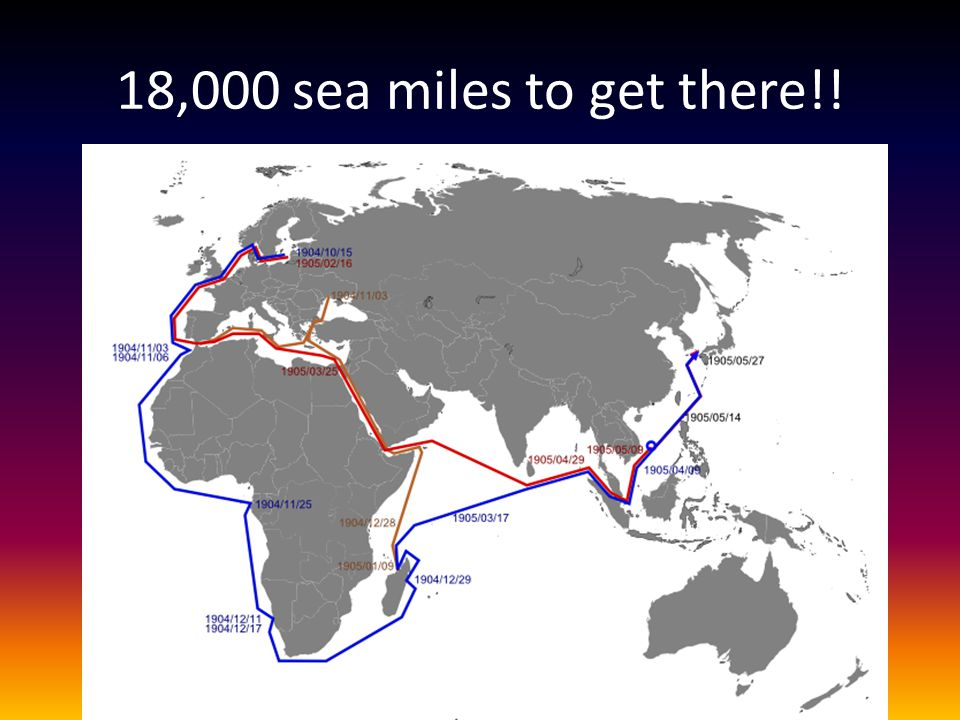 18,000 sea miles to get there!!