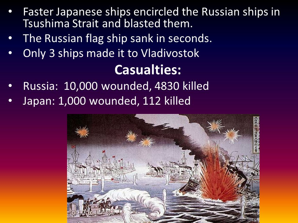 Faster Japanese ships encircled the Russian ships in Tsushima Strait and blasted them.