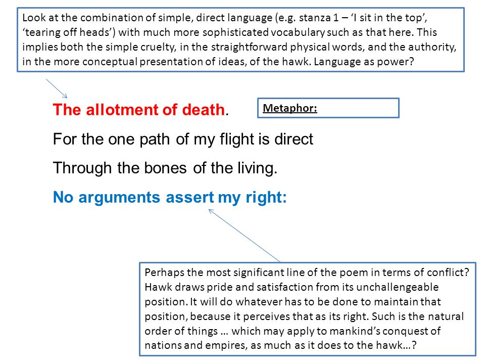 The allotment of death. For the one path of my flight is direct Through the bones of the living. No arguments assert my right: Perhaps the most signif