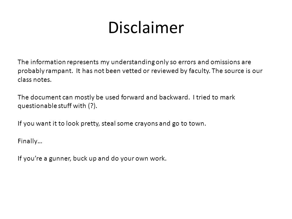 Disclaimer The information represents my understanding only so errors and omissions are probably rampant.