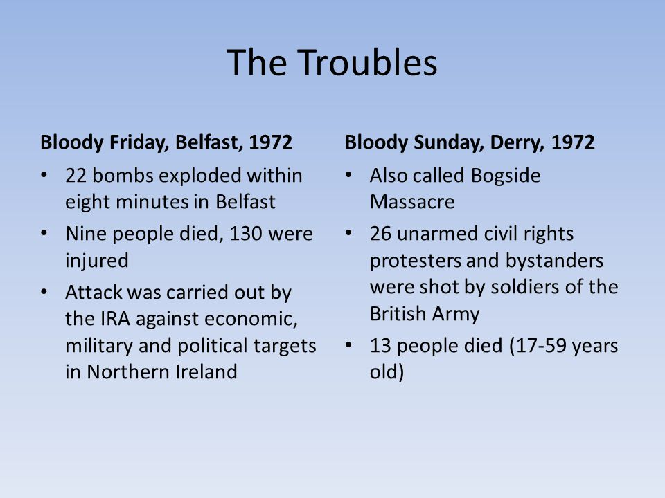 The Troubles Bloody Friday, Belfast, 1972 22 bombs exploded within eight minutes in Belfast Nine people died, 130 were injured Attack was carried out by the IRA against economic, military and political targets in Northern Ireland Bloody Sunday, Derry, 1972 Also called Bogside Massacre 26 unarmed civil rights protesters and bystanders were shot by soldiers of the British Army 13 people died (17-59 years old)
