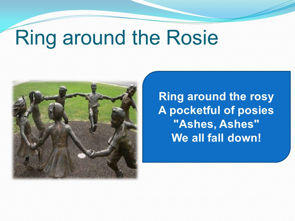 Ring around the Rosie Ring around the rosy A pocketful of posies Ashes, Ashes We all fall down!