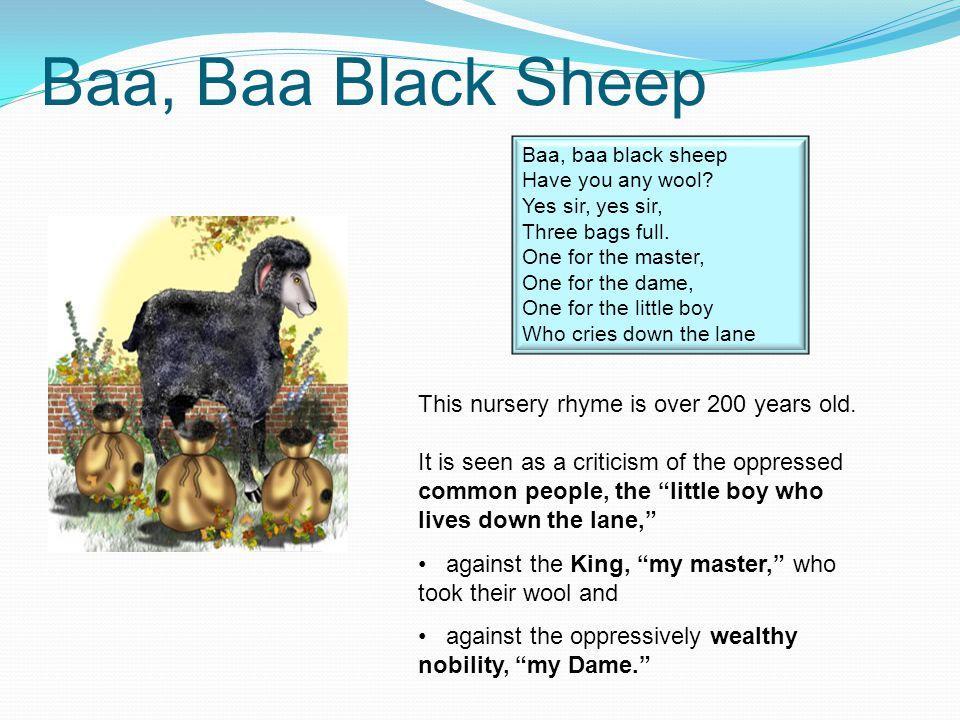 Baa, Baa Black Sheep Baa, baa black sheep Have you any wool.