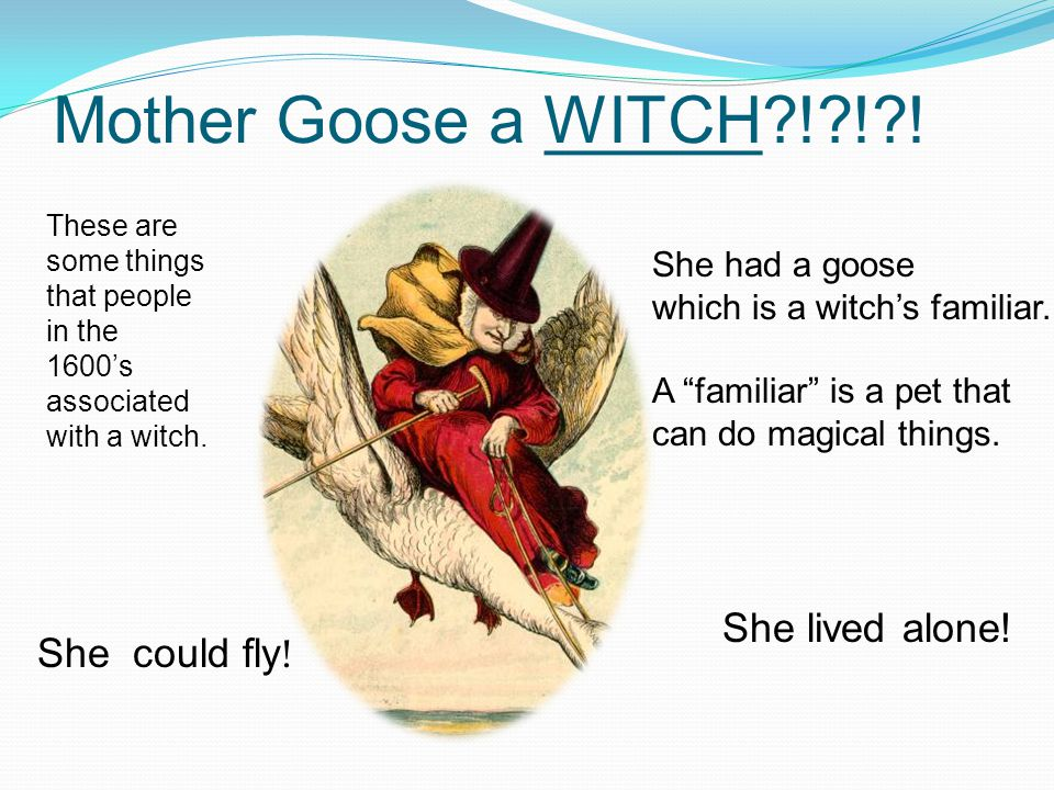 Mother Goose a WITCH ! ! . She could fly . She had a goose which is a witch's familiar.