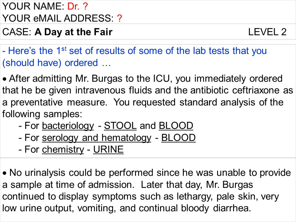 YOUR NAME: Dr. ? YOUR eMAIL ADDRESS: ? CASE: A Day at the Fair LEVEL 2 - Here's the 1 st set of results of some of the lab tests that you (should have