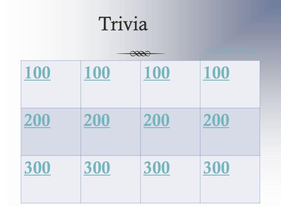 Trivia 100 200 300 Production Notes