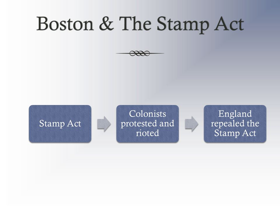 Boston & The Stamp ActBoston & The Stamp Act Stamp Act Colonists protested and rioted England repealed the Stamp Act