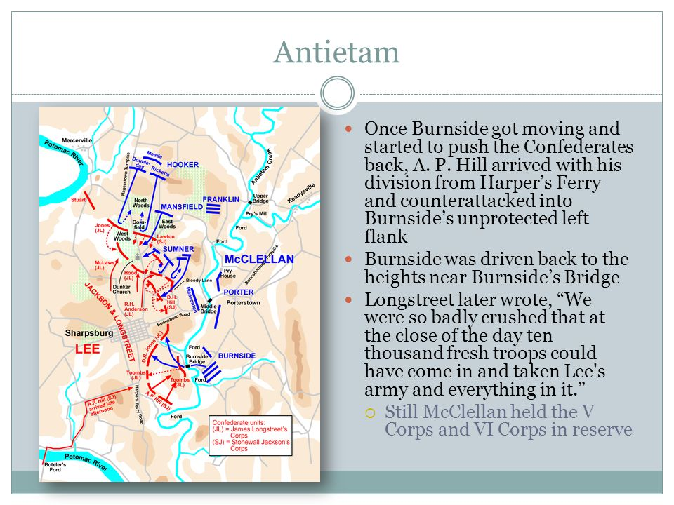 Antietam Once Burnside got moving and started to push the Confederates back, A.