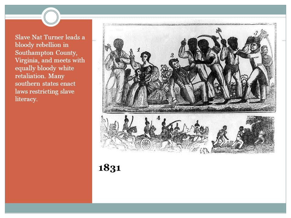1831 Slave Nat Turner leads a bloody rebellion in Southampton County, Virginia, and meets with equally bloody white retaliation. Many southern states