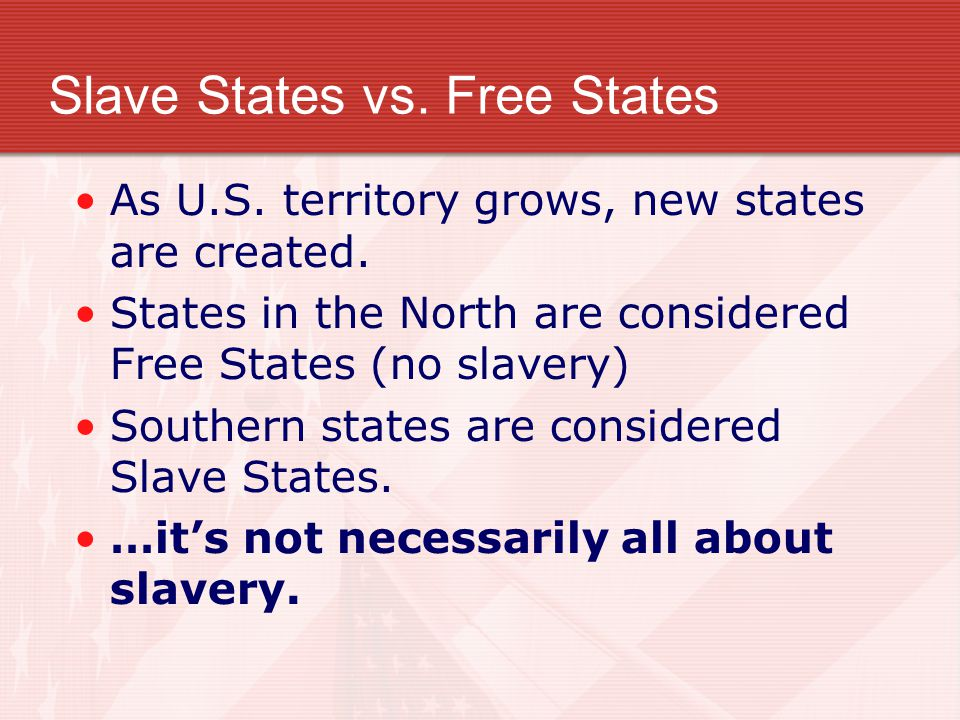 Slave States vs. Free States As U.S. territory grows, new states are created. States in the North are considered Free States (no slavery) Southern sta
