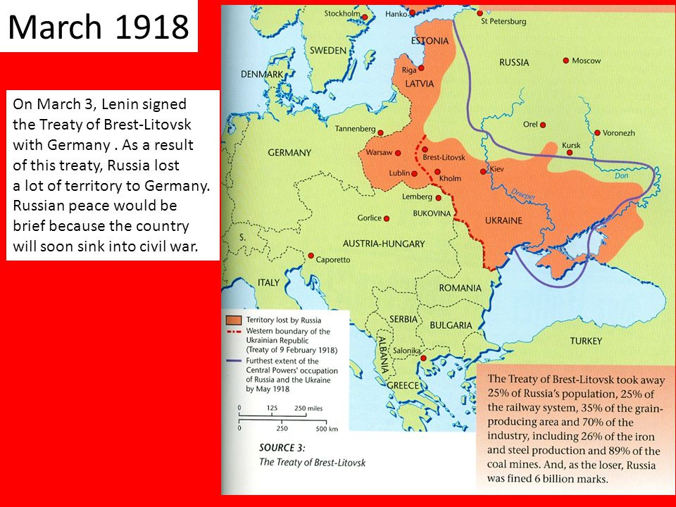 March 1918 On March 3, Lenin signed the Treaty of Brest-Litovsk with Germany.