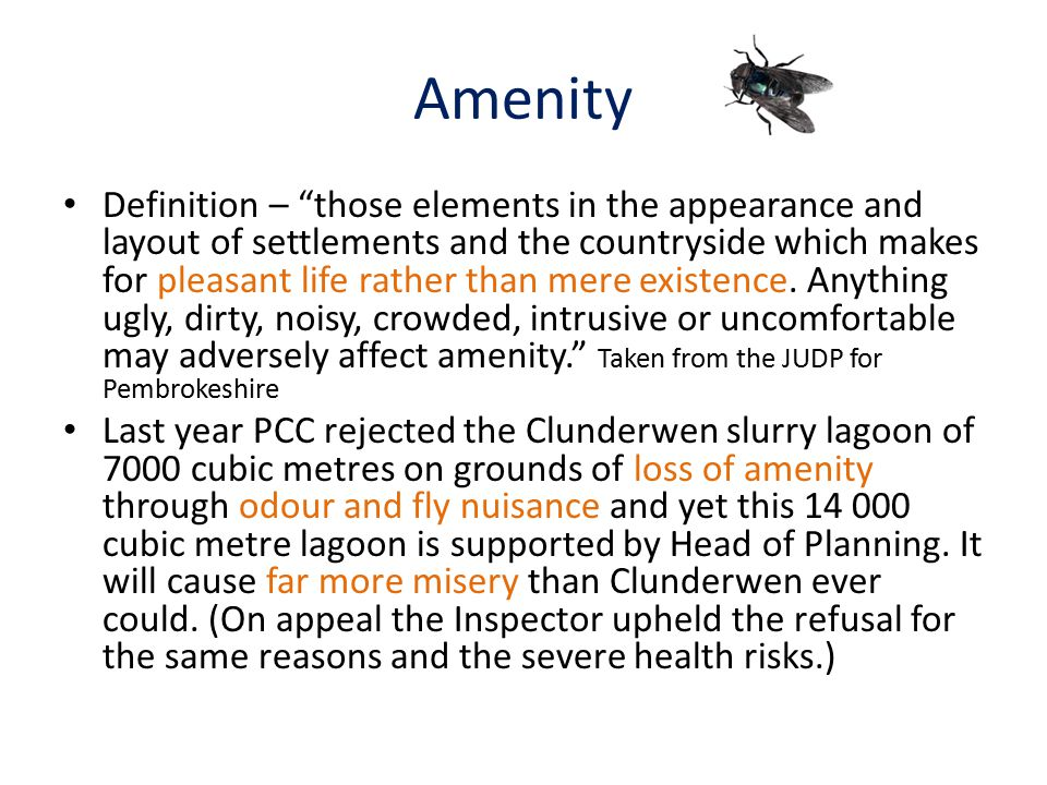 """Amenity Definition – """"those elements in the appearance and layout of settlements and the countryside which makes for pleasant life rather than mere ex"""