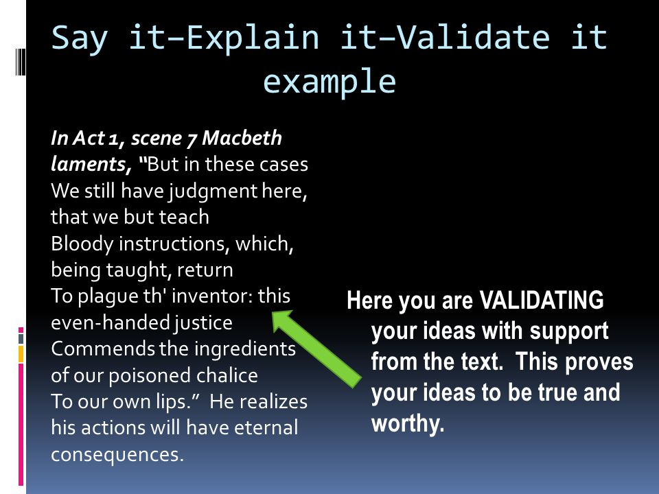 Say it–Explain it–Validate it example Here you are VALIDATING your ideas with support from the text.