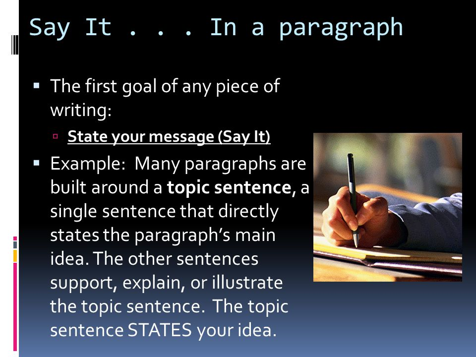 Say It... In a paragraph  The first goal of any piece of writing:  State your message (Say It)  Example: Many paragraphs are built around a topic s