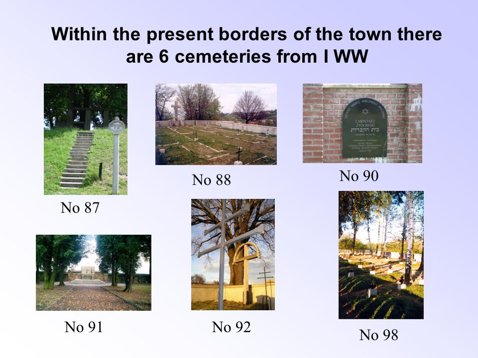 1915r.1918r. The cemetery can be entered through a huge gate with a front-directed terrace.
