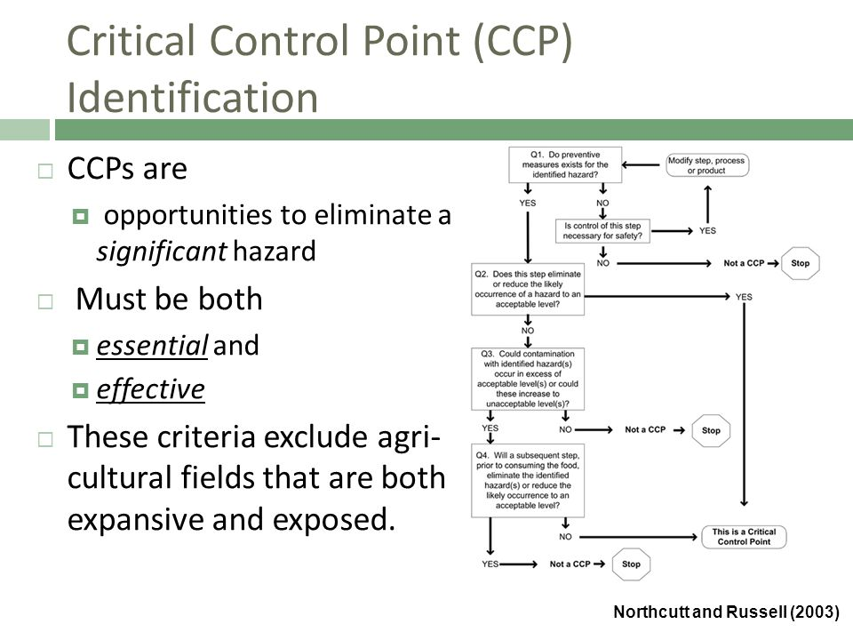 Critical Control Point (CCP) Identification  CCPs are  opportunities to eliminate a significant hazard  Must be both  essential and  effective  These criteria exclude agri- cultural fields that are both expansive and exposed.
