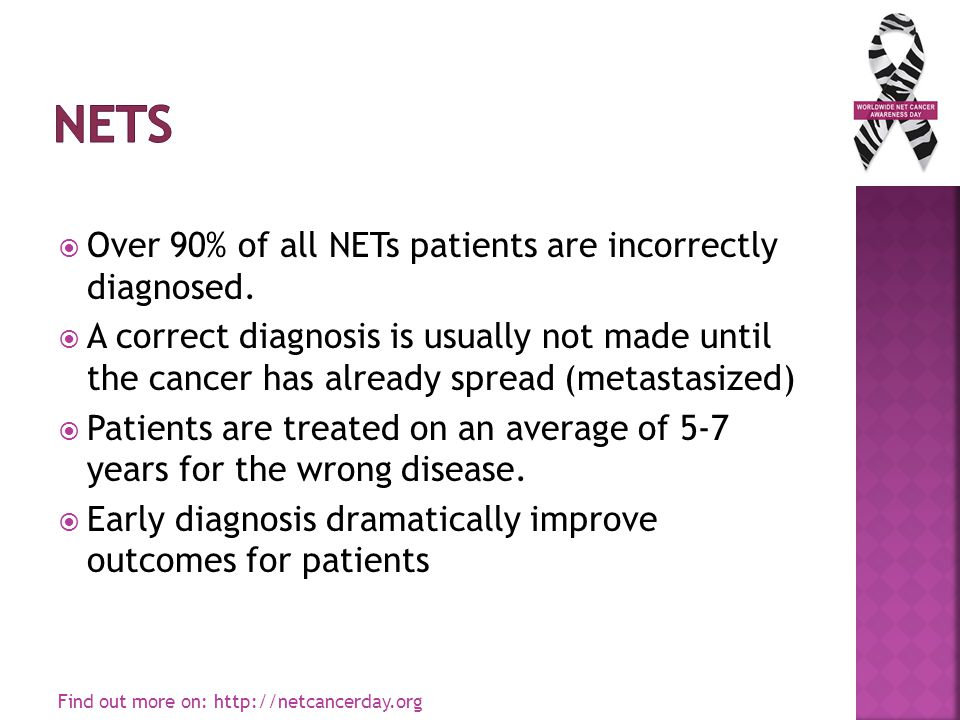  Over 90% of all NETs patients are incorrectly diagnosed.  A correct diagnosis is usually not made until the cancer has already spread (metastasized