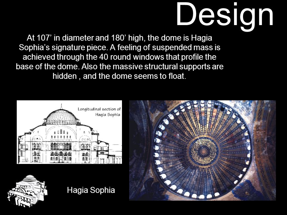 Design Hagia Sophia The original portion of the church is 250' x 230', which is almost a perfect square. Inside that exterior rectangle is a 100' squa