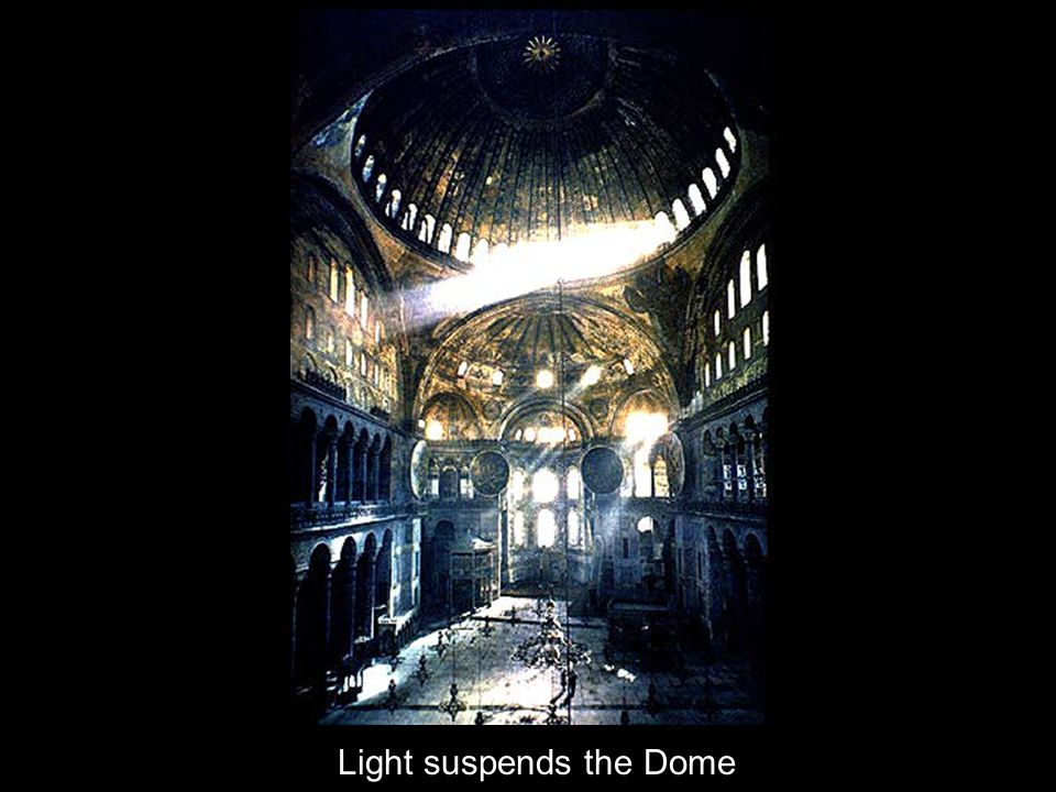 At 107' in diameter and 180' high, the dome is Hagia Sophia's signature piece. A feeling of suspended mass is achieved through the 40 round windows th