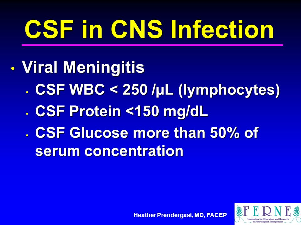 Heather Prendergast, MD, FACEP CSF in CNS Infection Viral Meningitis Viral Meningitis CSF WBC < 250 /µL (lymphocytes) CSF WBC < 250 /µL (lymphocytes) CSF Protein <150 mg/dL CSF Protein <150 mg/dL CSF Glucose more than 50% of serum concentration CSF Glucose more than 50% of serum concentration