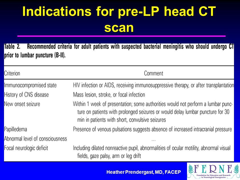 Heather Prendergast, MD, FACEP focal exam/cranial nerve abnormalities, hx cancer, seizure, immuncompromised, altered mental status, papilledema Indications for pre-LP head CT scan