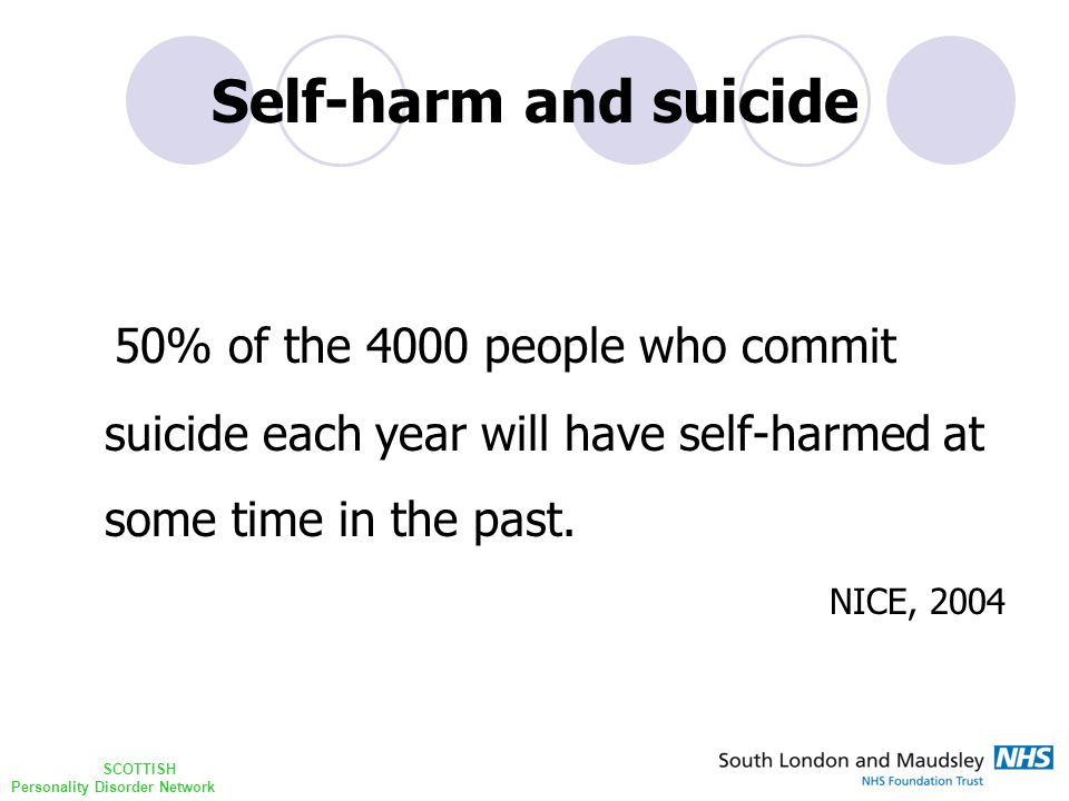 SCOTTISH Personality Disorder Network Self-harm and suicide 50% of the 4000 people who commit suicide each year will have self-harmed at some time in