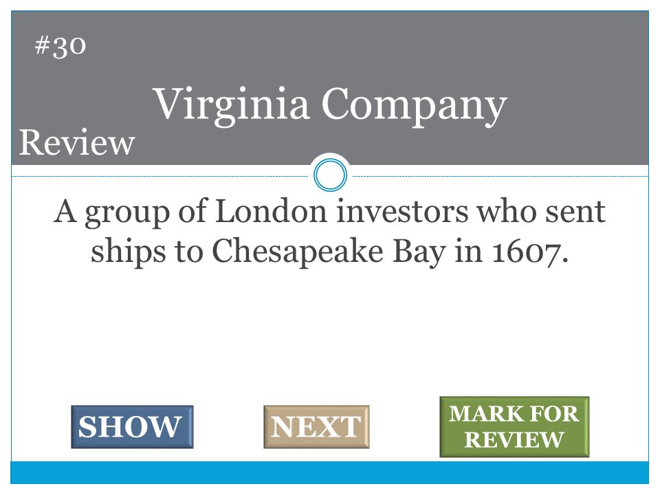 A group of London investors who sent ships to Chesapeake Bay in 1607.