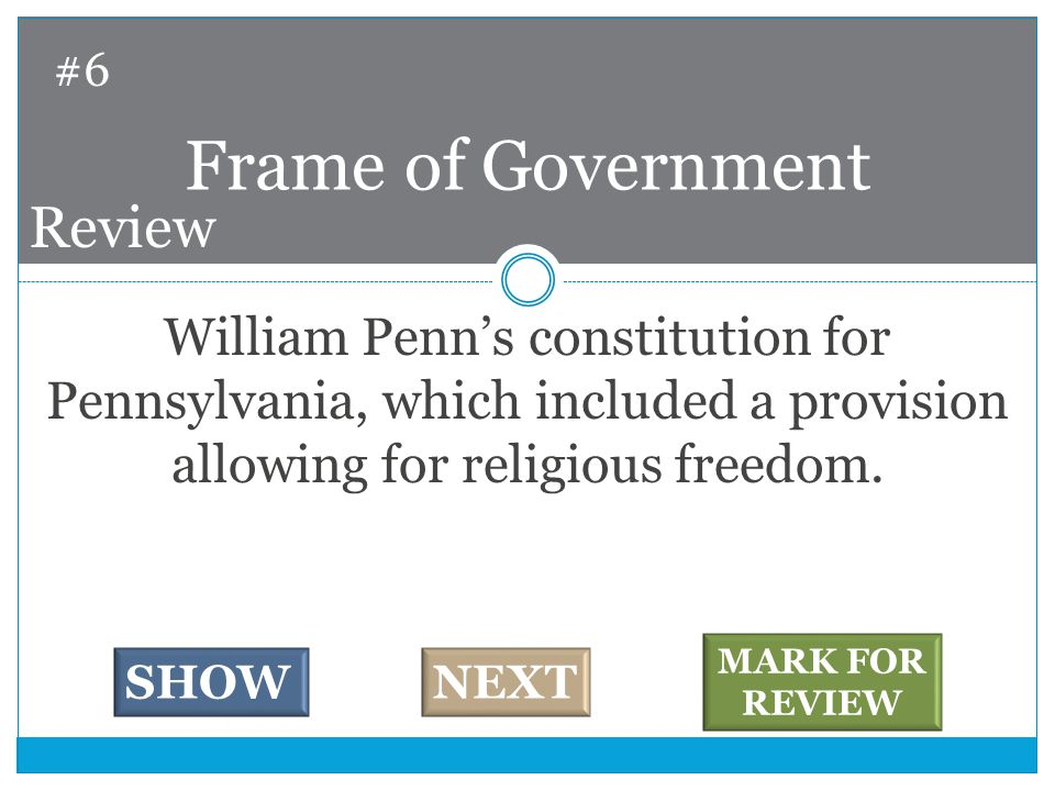 William Penn's constitution for Pennsylvania, which included a provision allowing for religious freedom.
