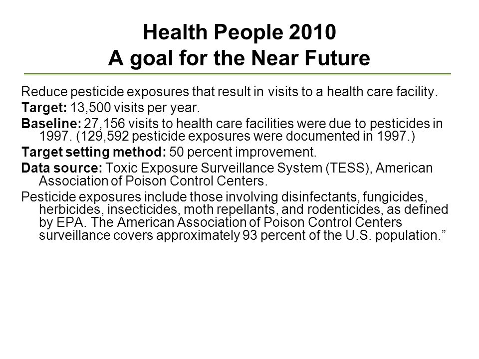 Health People 2010 A goal for the Near Future Reduce pesticide exposures that result in visits to a health care facility.