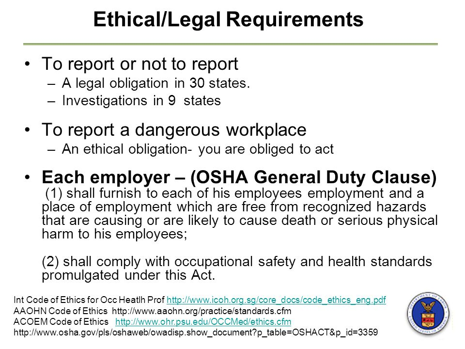 Ethical/Legal Requirements To report or not to report –A legal obligation in 30 states.