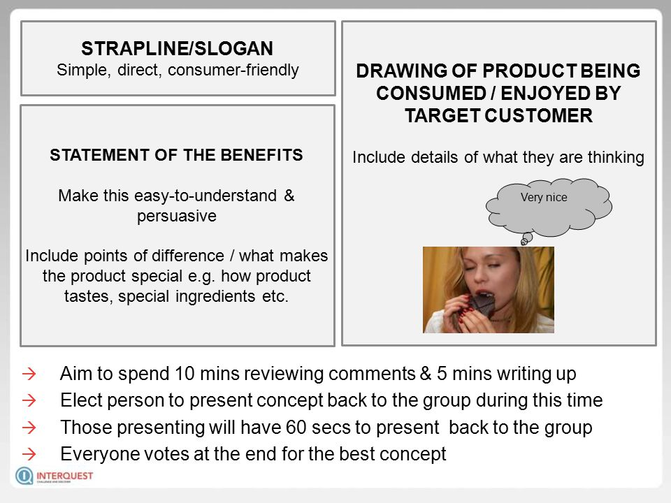 DRAWING OF PRODUCT BEING CONSUMED / ENJOYED BY TARGET CUSTOMER Include details of what they are thinking STRAPLINE/SLOGAN Simple, direct, consumer-friendly STATEMENT OF THE BENEFITS Make this easy-to-understand & persuasive Include points of difference / what makes the product special e.g.
