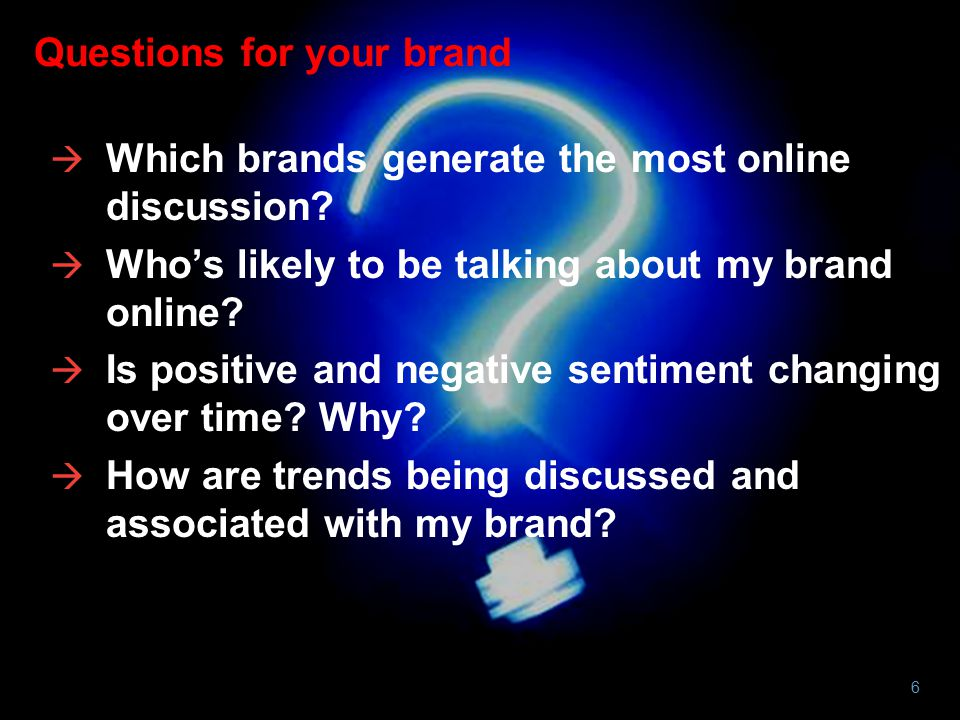 Questions for your brand  Which brands generate the most online discussion.