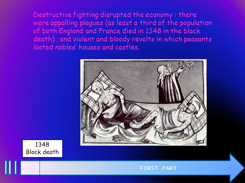 FIRST PART 1348 Black death Destructive fighting disrupted the economy : there were appalling plagues (as least a third of the population of both England and France died in 1348 in the black death), and violent and bloody revolts in which peasants looted nobles' houses and castles.
