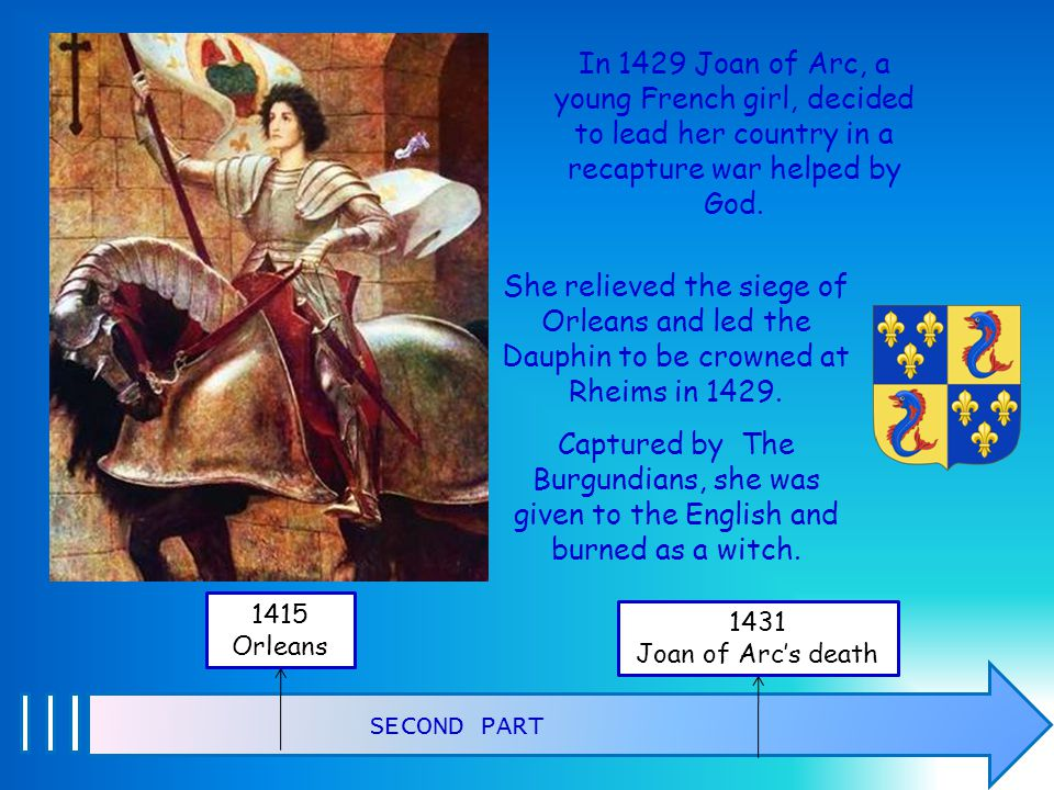 In 1429 Joan of Arc, a young French girl, decided to lead her country in a recapture war helped by God.