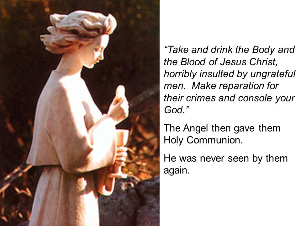 Take and drink the Body and the Blood of Jesus Christ, horribly insulted by ungrateful men.