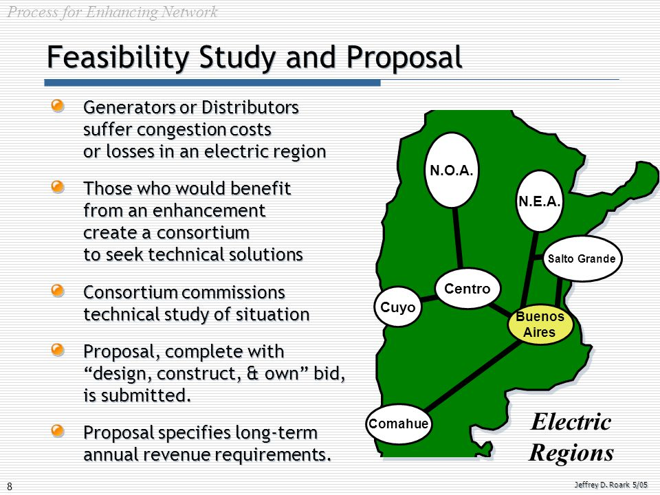 8 Jeffrey D. Roark 5/05 Feasibility Study and Proposal Generators or Distributors suffer congestion costs or losses in an electric region Those who wo