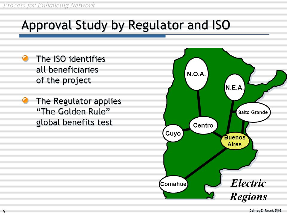 "9 Jeffrey D. Roark 5/05 Approval Study by Regulator and ISO The ISO identifies all beneficiaries of the project The Regulator applies ""The Golden Rule"