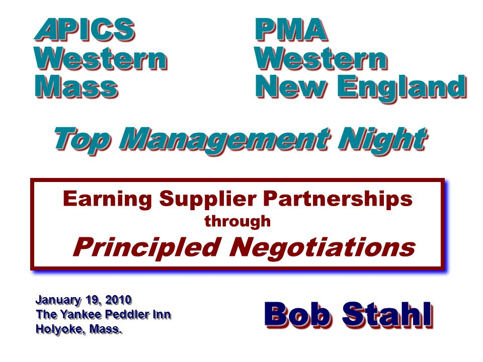 Bob Stahl www.RAStahlCompany.com BATNA Best Alternative To a Negotiated Agreement Known to each other Can be a benchmark Not a 'bottom line' - a starting point Is not used for 'leverage' Achievable without any negotiation If exercised, relationship continues