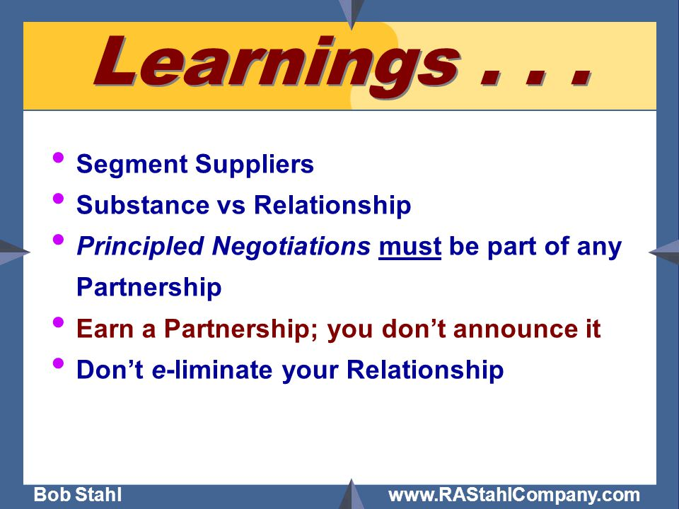 Bob Stahl www.RAStahlCompany.com Learnings...