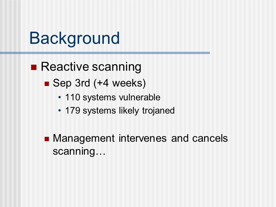Background Reactive scanning Sep 3rd (+4 weeks) 110 systems vulnerable 179 systems likely trojaned Management intervenes and cancels scanning…