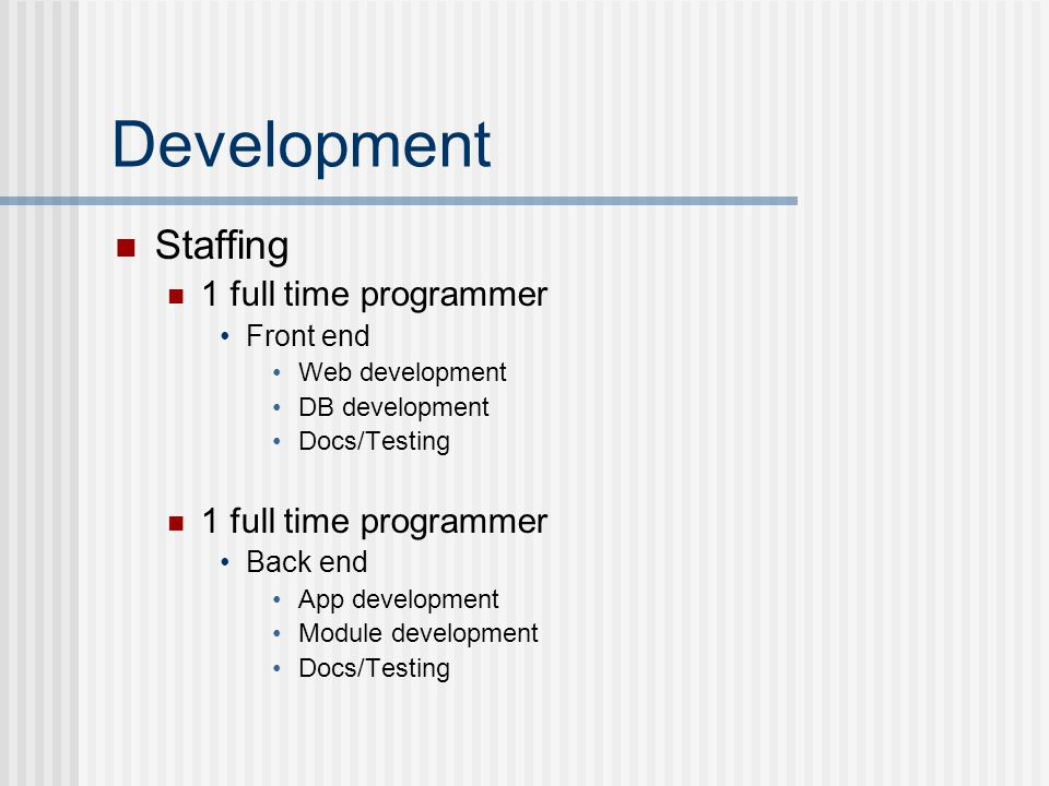 Development Staffing 1 full time programmer Front end Web development DB development Docs/Testing 1 full time programmer Back end App development Module development Docs/Testing