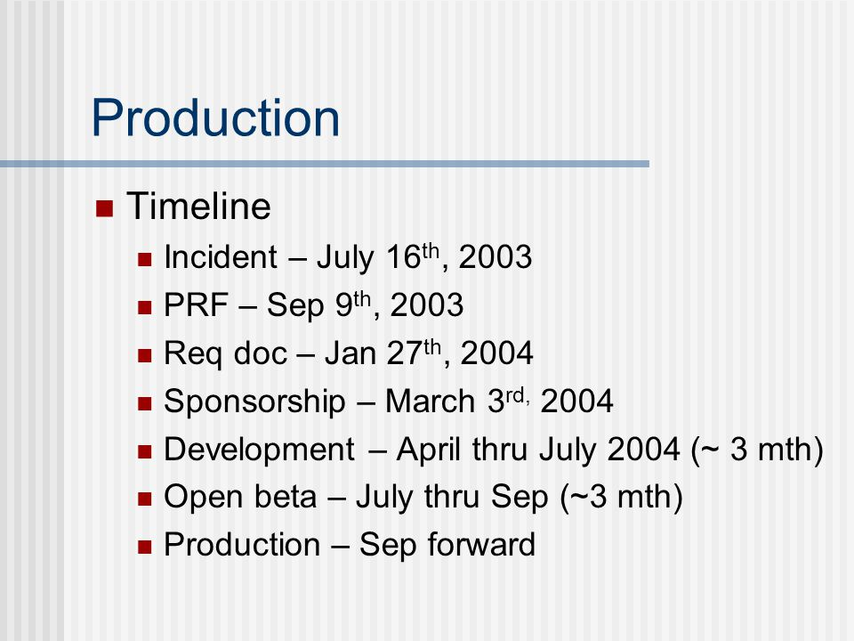 Production Timeline Incident – July 16 th, 2003 PRF – Sep 9 th, 2003 Req doc – Jan 27 th, 2004 Sponsorship – March 3 rd, 2004 Development – April thru July 2004 (~ 3 mth) Open beta – July thru Sep (~3 mth) Production – Sep forward