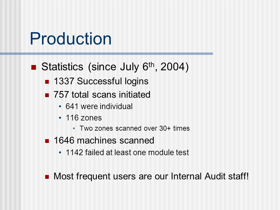 Production Statistics (since July 6 th, 2004) 1337 Successful logins 757 total scans initiated 641 were individual 116 zones Two zones scanned over 30+ times 1646 machines scanned 1142 failed at least one module test Most frequent users are our Internal Audit staff!
