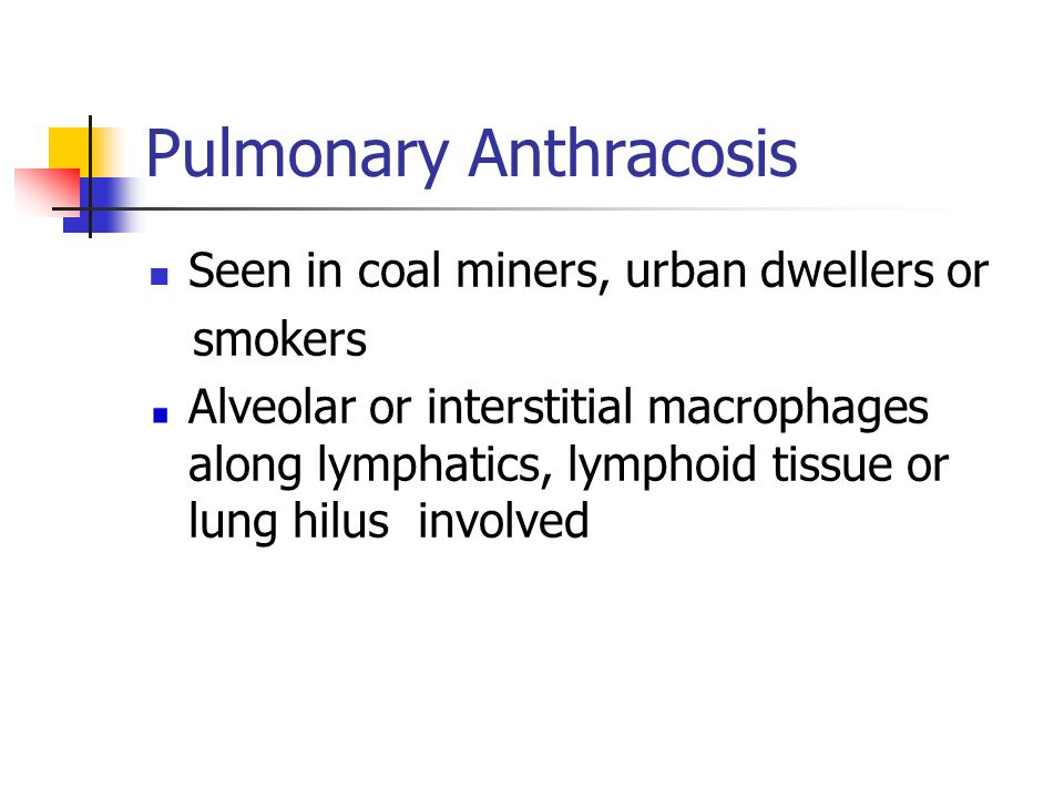 Pulmonary Anthracosis Seen in coal miners, urban dwellers or smokers Alveolar or interstitial macrophages along lymphatics, lymphoid tissue or lung hilus involved