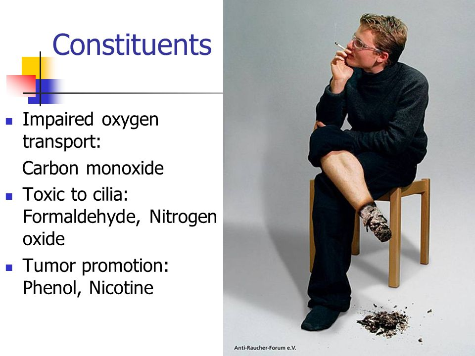 Constituents Impaired oxygen transport: Carbon monoxide Toxic to cilia: Formaldehyde, Nitrogen oxide Tumor promotion: Phenol, Nicotine