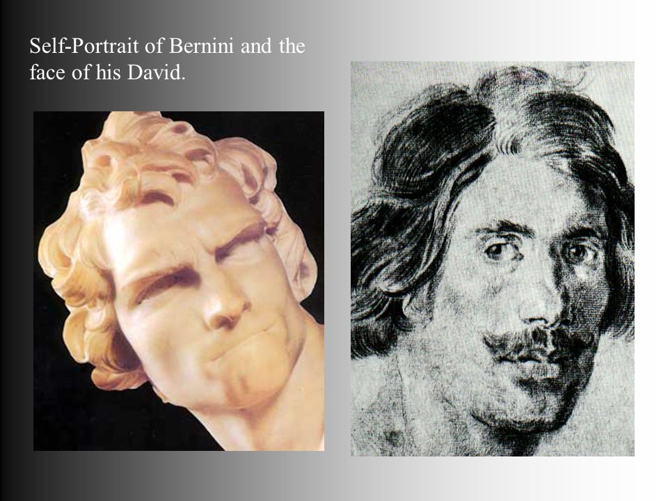 Self-Portrait of Bernini and the face of his David.