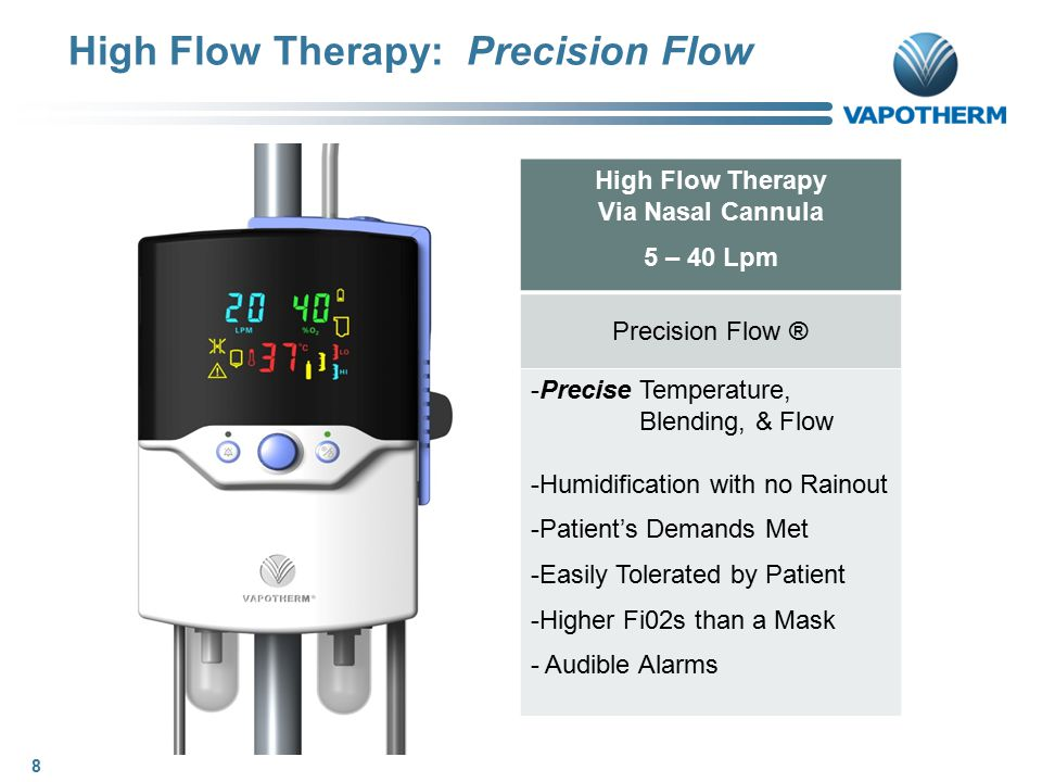 HFT Conclusions – Patient Care Aspects ● Non-invasive Interface – Nasal Cannula - No Masks to Fit - No Leaks to Worry About - Patient Can Eat, Talk, Take Meds ● Ability to Control Factors Independently - Can Deliver Temp, Flow, Fi02 to Meet Patients Exact Needs - Can Deliver High Flow and Low Fi02 for Retainers